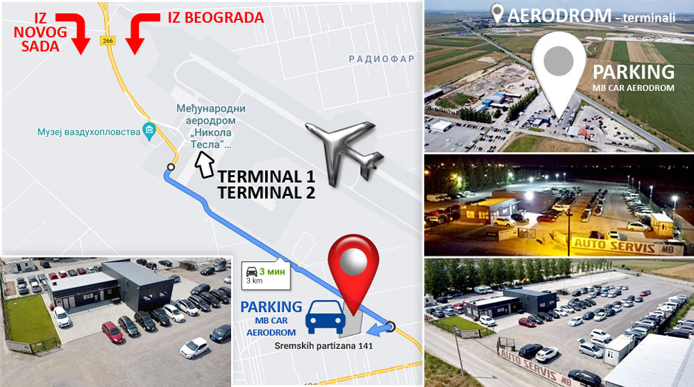 MB CAR Parkin Aerodrom Beograd - mapa lokacije